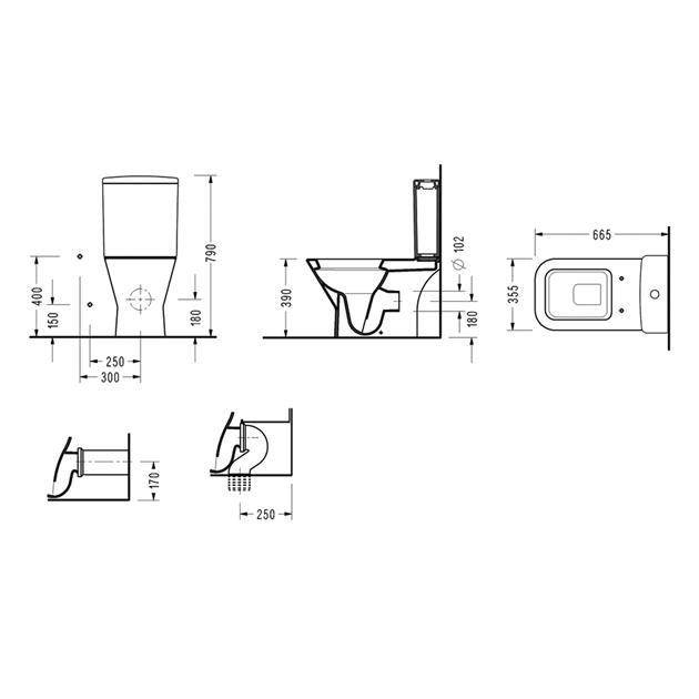 Моноблок DIAGONAl с вградено биде – комплект