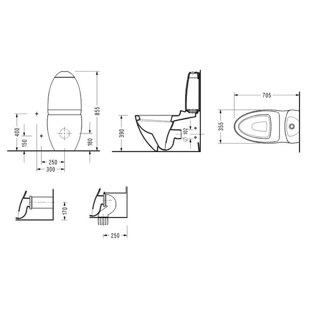 Моноблок ORCA с дъска със забавено падане – комплект