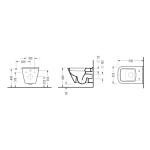Конзoлна WC-чиния DIAGONAL с вградено биде
