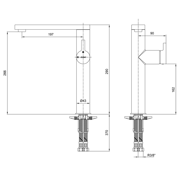 Смесител за умивалник, висок – серия MINA