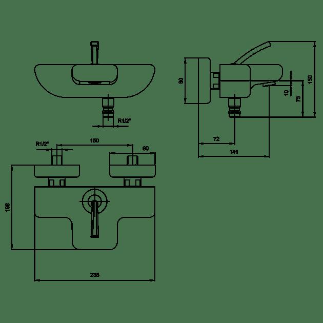 Смесител за вана/душ – серия NOVITA 2