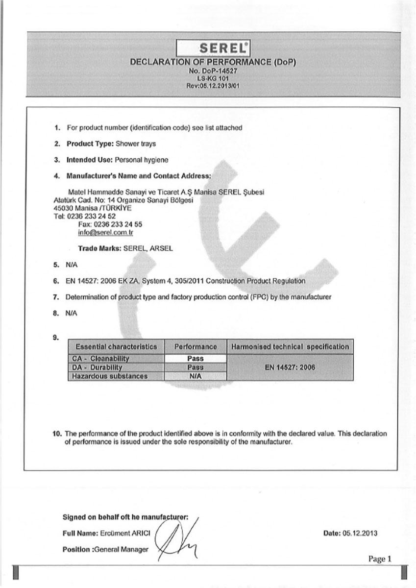 Сертификат за ДУШ КОРИТА DOP-14527