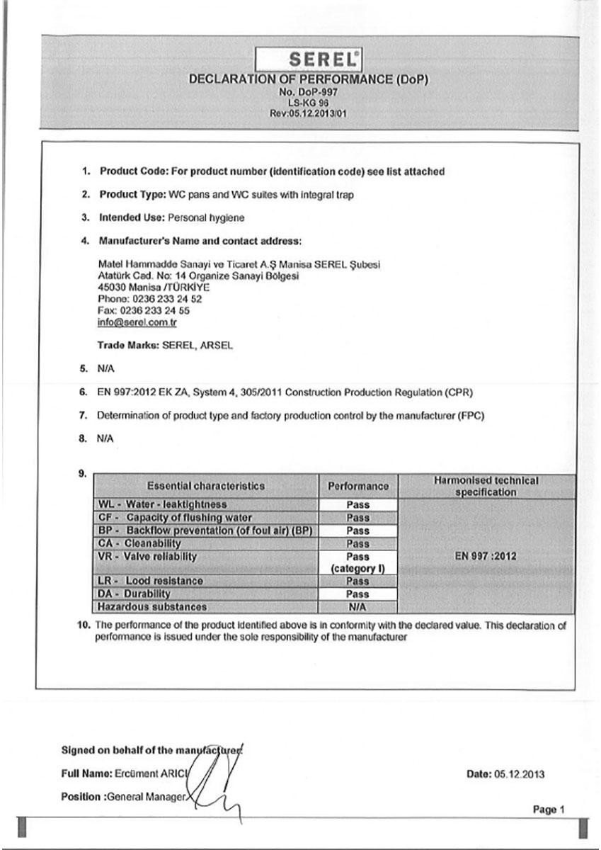 Декларация за експлоат. показатели за WC-ЧИНИИ DOP-997 EN