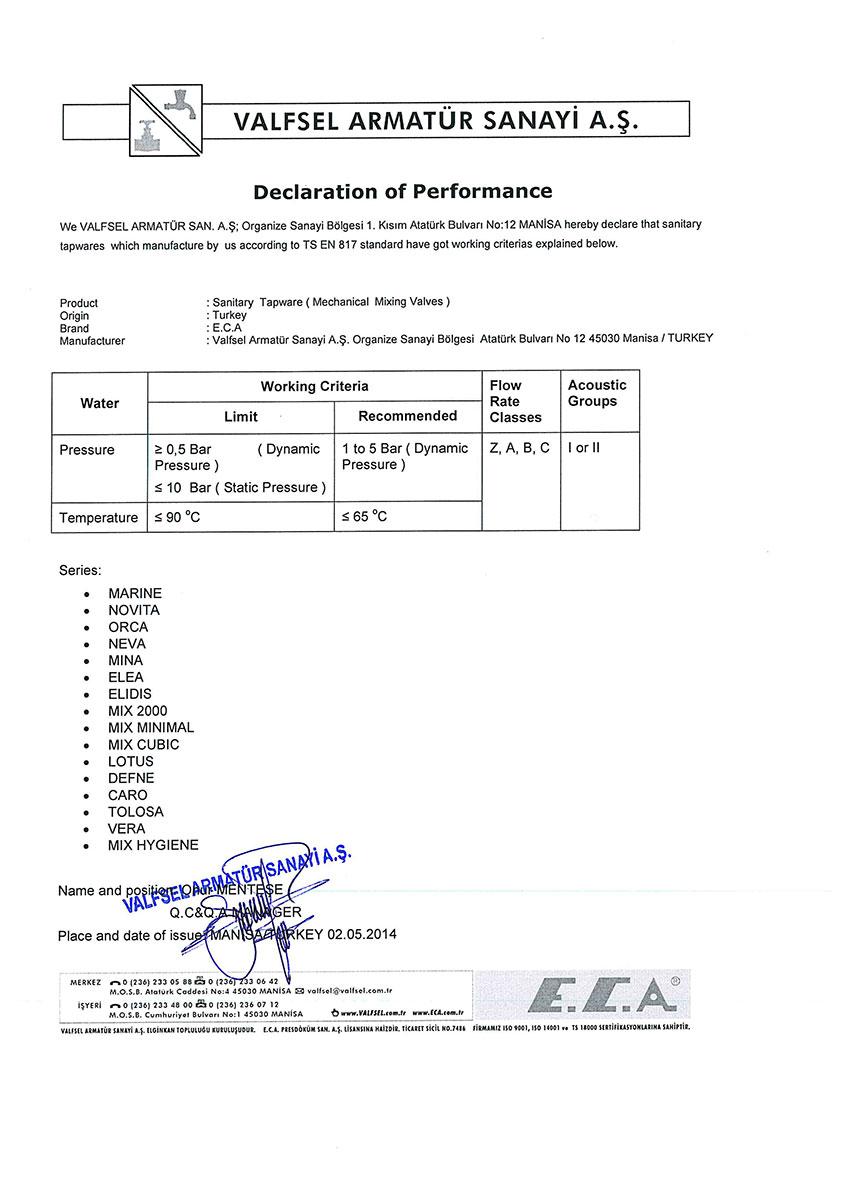 Декларация за експлоат. показатели за смесители
