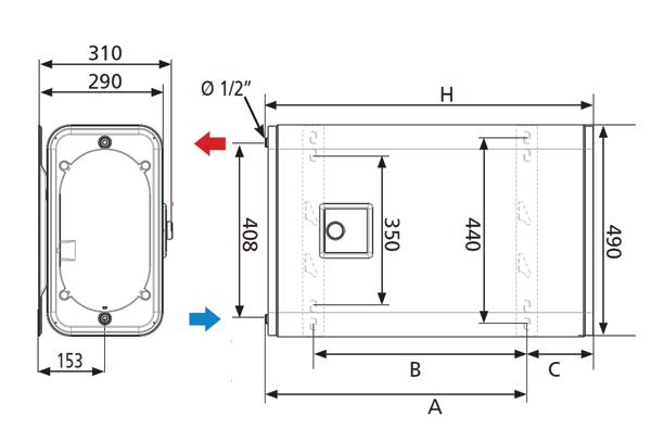 Плосък бойлер, с 2 керамични нагревателя Atlantic Vertigo