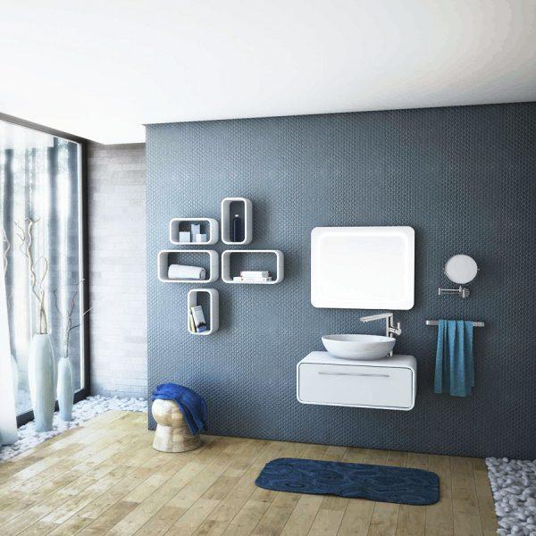 Комплект обзавеждане за баня - шкаф за баня Oval 80 + мивка CH33